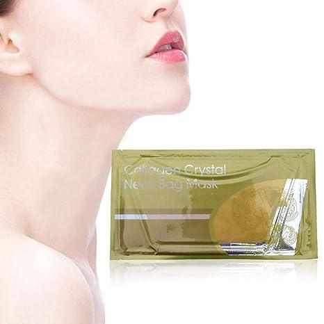 KOBWA - Máscara de colágeno para Mujer, Color Dorado Natural y Cristal de colágeno,