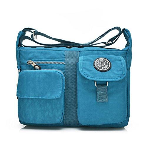 Tablet Bag Outreo Viaje de Mujer Nylon de Escolares Bolsas para Bolsos Sport Bolsos Bandolera Messenger Baratos Azul Bolso Mano Impermeable Moda FaqAgnUSwF