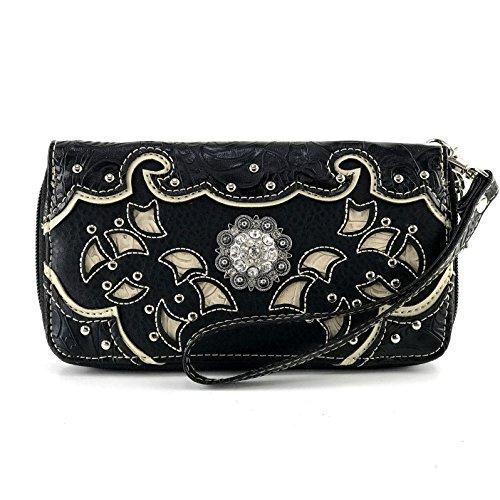 Justin West Rhinestone Concho Western Laser Cut Tooled Wristlet Wallet Shoulder Handbag Purse (Black Wallet)