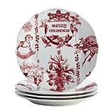 Farberware Bonjour Yuletide Garland Porcelain Fluted Salad Plate Set, 4-Piece