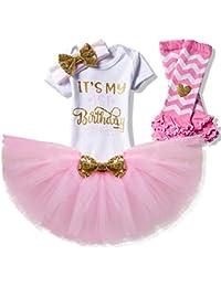 Girl Newborn It's My 1st Birthday 3 Pcs/4 pcs Outfits Romper+Skirt+Headband(+Leggings)