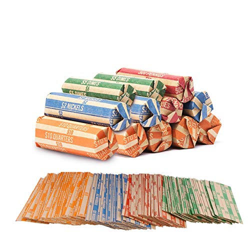 Coin Roll Wrappers -440 Pack Assorted Flat Coin Papers Bundle of Quarters Nickels Dimes Pennies (440 PACK)