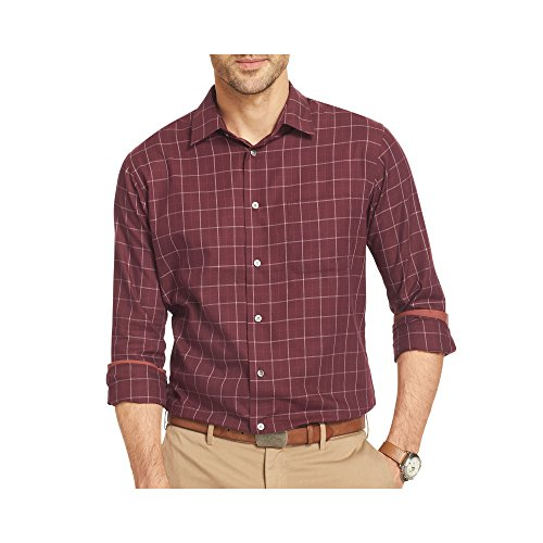 Van Heusen Mens Premium No Iron Long Sleeve Dress Shirts - Assorted Styles,Burgundy Corazon Square,S