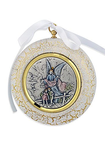 Sterling Silver Guardian Angel Crib Medal (Guardian Angel Medal)