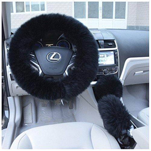 Wheel Set Cover Steering (Uarter Winter Warm Faux Wool Steering Wheel Cover with Handrake Cover & Gear Shift Cover for 14.96