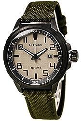 Citizen Eco-Drive Nude Dial SS Green Textile Quartz Men's Watch AW1465-14H