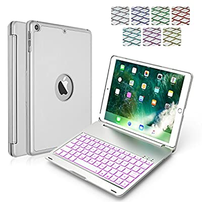 iPad Keyboard Case,for 2017 New iPad 9.7 inch & iPad Air-LED 7 Colors Backlit Wireless Bluetooth keyboard, Back Hard Folio Case Cover,Ultra Slim,Aluminium Alloy-For model:A1822/A1823/A1474/A1475/A1476