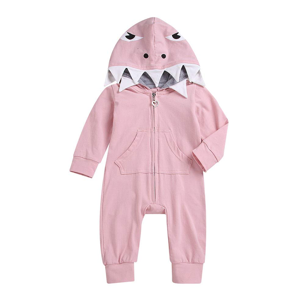 Newborn Infant Baby Girl Boy Hoodie Cartoon Shark Funny Jumpsuit Zipper Long Sleeves Outfit (3-6 Months, Pink)