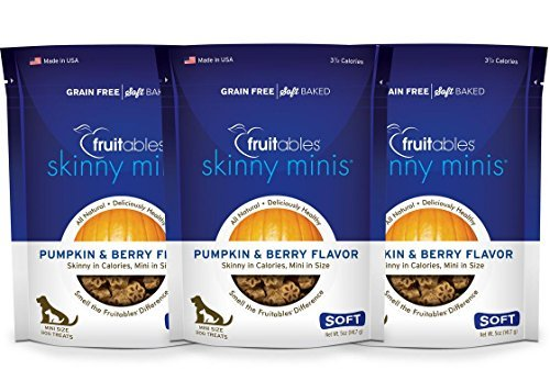 Fruitables Skinny Minis Pumpkin & Berry Low Calorie Soft & Chewy Dog Treats (3 Pack)