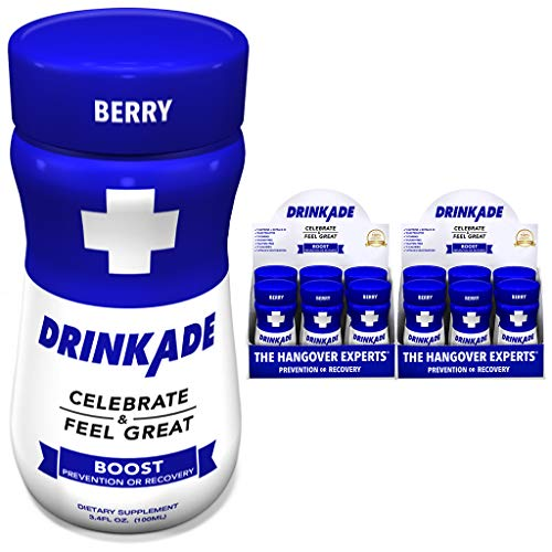 DrinkAde Boost - Energy, Hydration & Liver Detox | Caffeine, Electrolytes, Vitamin B, Milk Thistle, Green Tea Extract | Only 5 Calories | Vegan, Caffeine-Free, Non-GMO | was Never Too Hungover | 12pk