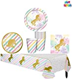 dinner ware for 8 - Unicorn Sparkle Party Supply Pack - Tableware for 8 Guests - Tablecover, Dinner Plates, Dessert Plates, Napkins, Cups, and a HeyDays Happy Birthday Tattoo
