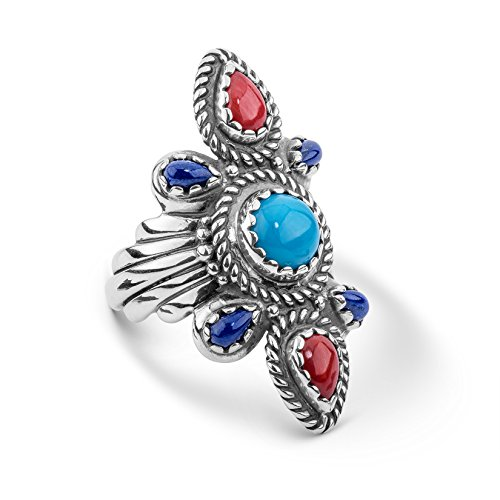 American West Genuine .925 Sterling Silver Turquoise Lapis Red Coral Scalloped Bold Ring, size 7
