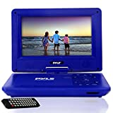 Upgraded 2017 Pyle 9 Inch Portable Travel  DVD Player, Use as Car CD  DVD Player, Rechargeable Battery, USB/SD, Headphone Jack, Includes Remote Control, Car Charger, Travel Bag Blue (PDV91BL)