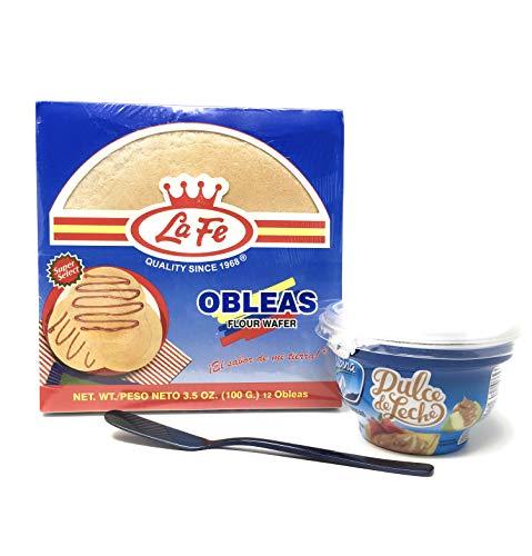 La Fe Obleas -12 Flour Wafer Bundle with Alpina Dulce de Leche - Arequipe - Caramel Spread 8.8 oz. Bonus: Spreader ()