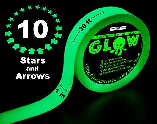Best Glow in the Dark Tape for Safety, Stairs, Light Switches, Stage, Theatrical, Theater, Exits, Decals, Ceiling, Floor, Vinyl, Stripe, Arrows, Stars, Dots, Waterproof, Gaffers, Fluorescent Duct Tape by Purple Octopus