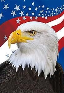 Clever creaciones la bandera americana y águila calva 4de julio de casa jardín bandera–12x 18cm