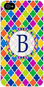 B-Monogram Bold Lattice Pattern Hard Plastic Case in White - for the Apple Iphone 4, 4s