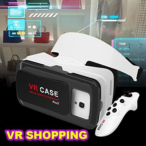 "Ultra Clear VR Case ProⅡ3D Glasses Virtual Reality Box Headset + Bluetooth Remote Control Gamepad for iPhone 7 Plus/ 7/ 6/ 6S Plus and Other Smartphones with screen size within 4.0""-6.3"""