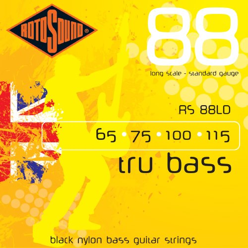 Rotosound RS88LD Black Nylon Flatwound Bass Guitar Strings (65 75 100 115), Outdoor Stuffs