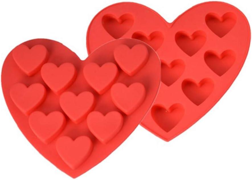 Idyandyan Silic/ón DIY del Chocolate bandejas de Cubitos de Caramelo moldes para Cubitos de Hielo de Hielo Bandejas de la Torta de Hornear Galletas Corazones de Molde Rojo Forma