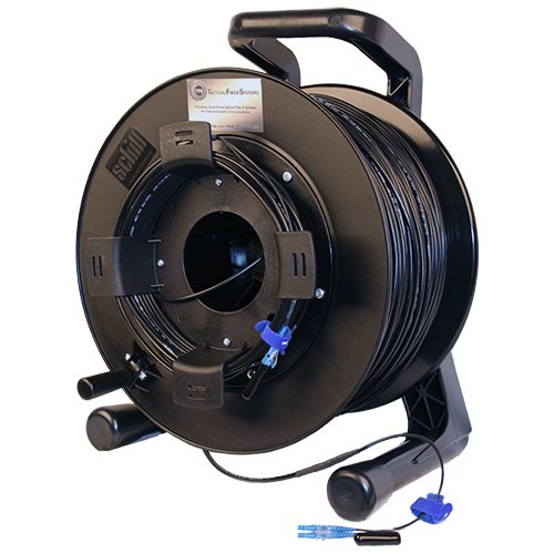 TFS DuraTAC 2LC0500TFR Steel Armored Tactical Fiber Cable Reel, 500 feet, 2 Fiber, Single Mode, LC Duplex Connectors