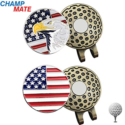 (CHAMPMATE Golf Hat Clip with 2 Removable Enamel Magnetic Ball Markers, Attaches Easily to Hats (Eagle Flag Clip x 2))