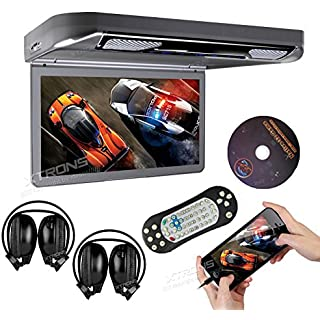 Sale Off XTRONS Grey 13.3' HD 1080P Video Car MPV Roof Flip Down Slim Overhead DVD Player Wide Screen Ultra-Thin with HDMI Input 2PCS IR Headphones Included
