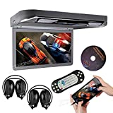 XTRONS Grey 13.3' HD 1080P Video Car MPV Roof Flip Down Slim Overhead DVD Player Wide Screen Ultra-Thin with HDMI Input 2PCS IR Headphones Included