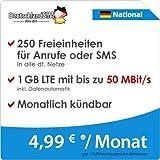 DeutschlandSIM LTE 750 National [SIM, Micro-SIM und Nano-SIM] monatlich kündbar (1 GB LTE mit max. 50 MBit/s inkl. Datenautomatik, 250 Freieinheiten für Anrufe oder SMS, 4,99 Euro/Monat)