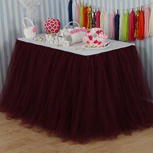 vLovelife 100cm Burgundy Tulle Tutu Table Skirt Tableware TableCloth Party Baby Shower Birthday Wedding Decorations Favor Customized Size Available (Table Skirt Burgundy)