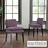 Metro Shop Portfolio Orion Amethyst Purple Linen Upholstered Dining Chairs (Set of 2)