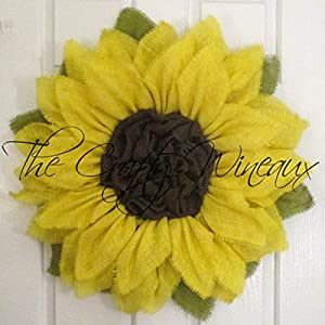 Bright Yellow Burlap Sunflower Wreath by The Crafty Wineaux™ 42