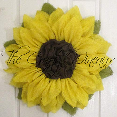 Bright Yellow Burlap Sunflower Wreath by The Crafty WineauxTM (Wreaths For Sale Online)