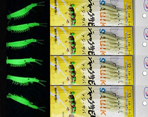 JSHANMEI 10 Packs Luminous Shrimp Sabiki Bait Rigs Glitter Glow in The Dark Fish Saltwater Bait Lure Catching Hook Tackle Fishing ()