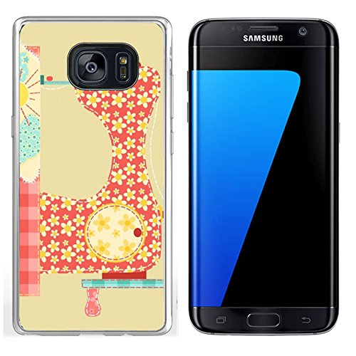 Machine Patchwork (MSD Samsung Galaxy S7 Edge Clear case Soft TPU Rubber Silicone Bumper Snap Cases IMAGE 11913845 Sewing machine Patchwork vintage series)