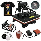 Arts & Crafts : F2C 5 in 1 Professional Digital Transfer Sublimation Swing-away 360-degree Rotation Heat Press Machine Hat/Mug/Plate/Cap/T-shirt Multifunction Black