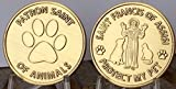 Saint Francis of Assisi Patron Saint Of Pets - Protect My Pet Medallion Set of 2 Bronze Paw Print Token
