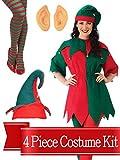 Elf Costume Jingle Dress Womens Complete Costume Kit - One Size