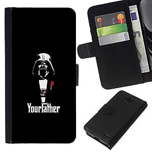 YiPhone /// Tirón de la caja Cartera de cuero con ranuras para tarjetas - Yourfather Estrella Guerra Darth Vade - LG OPTIMUS L90