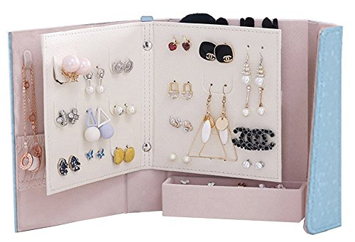 NFASHIONSO Jewelry Travel Organizer-Litte Book Design PU Leather Jewelry Storage Case for Earrings,Necklace,Rings and Makeup Brushes