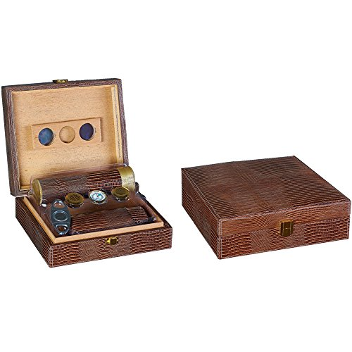 $87.65 travel humidors Prestige Import Group Brown Alligator Leather Humidor with Accessories 2019