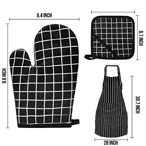 Oven Mitts and Pot Holders, Heat Resistant Kitchen Gloves with Aprons for Women and Men Soft Cotton Lining and Non-Slip Surface Safe for Kitchen, Cooking, Baking, BBQ