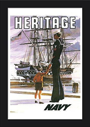 US Navy Vintage Poster - Heritage Giclee Art Print, Gallery Framed, Black Wood
