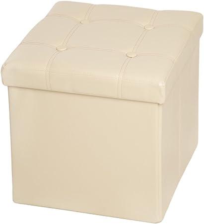 TecTake Asiento Plegable arcón Asiento puf ordenación Caja de almacenaje 38x38x38 cm Beige (No. 401474): Amazon.es: Hogar