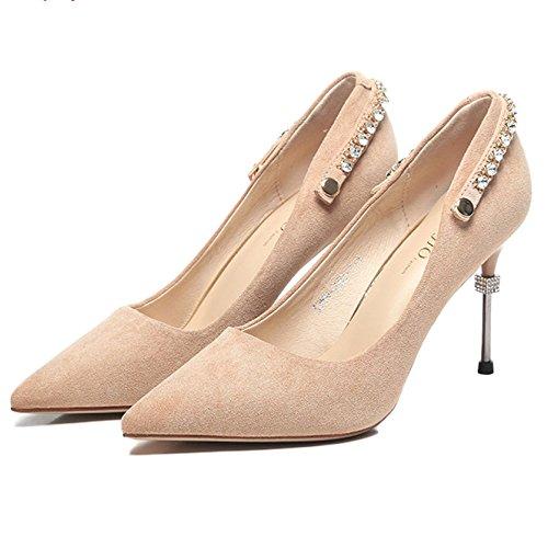 Talon Travail Clubbing Court Shoes Talons Pointus Chaussures Toe en Fermé Daim Stiletto Pink Sexy Mesdames Nude Haut Escarpins à qwS0E