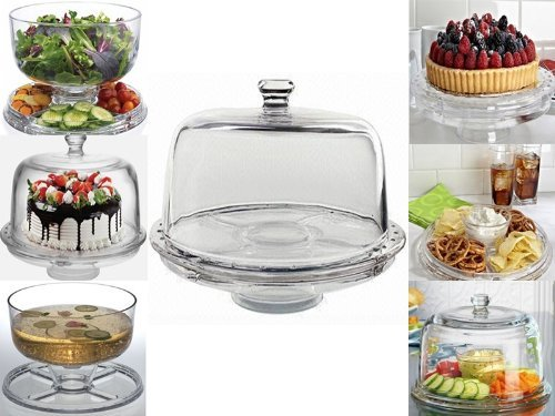 6 IN 1 CAKE STAND CLEAR ACRYLIC DOME LID SALAD PLATE PUNCH BOWL CHIP DIP SERVER & Amazon.com: 6 IN 1 CAKE STAND CLEAR ACRYLIC DOME LID SALAD PLATE ...