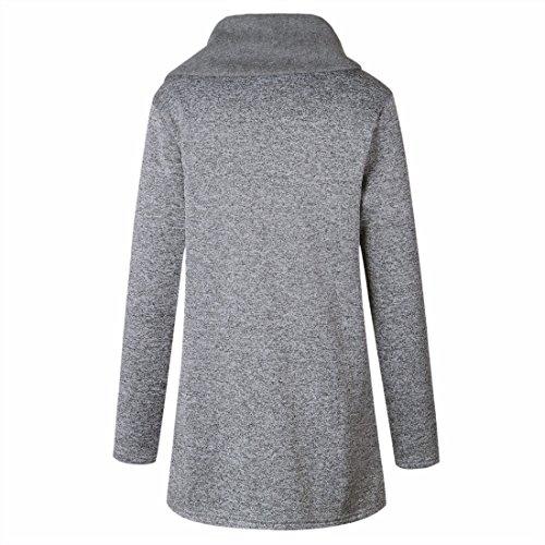 Décontracté Automne z Pour Qiyun Femmes Outwear Clair Gris Manteau Sweatshirt Hiver wXZqRAERf