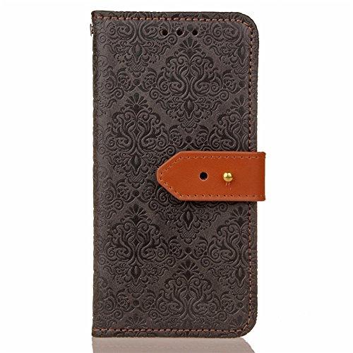SRY Caja de la carpeta del tirón del cuero de la PU con el soporte y ranura para tarjeta con el cierre magnético para Samsung Galaxy A7 2017 ( Color : Khaki ) Black