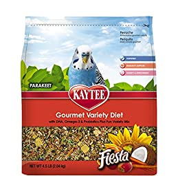 Kaytee Fiesta Bird Food for Parakeets, 4-1/2-Pound Bag