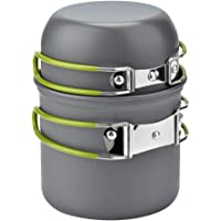 wuudi Camping Equipment, Outdoor Camping Pots and Pans Set 2PCS Camping Cookware